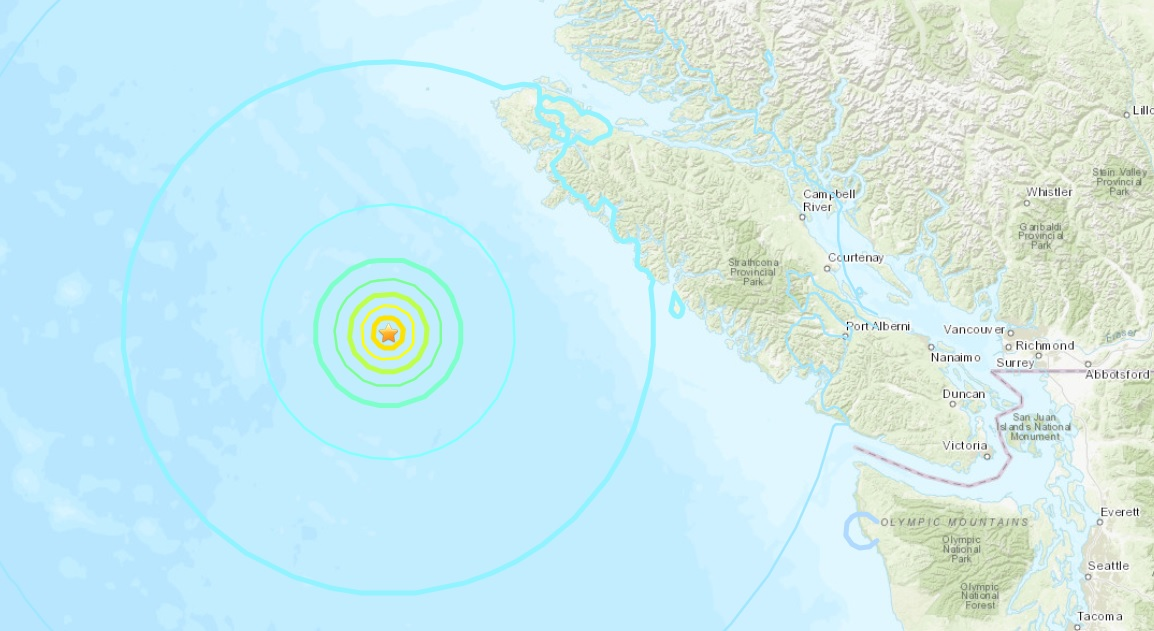 Two earthquakes of magnitude 6.6 and 6.8 hits Canada's west coast